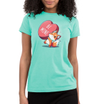 Be Mine Junior's t-shirt model TeeTurtle chill blue t-shirt featuring a fox holding a huge heart that says Be Mine