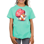 Be Mine Kid's t-shirt model TeeTurtle chill blue t-shirt featuring a fox holding a huge heart that says Be Mine