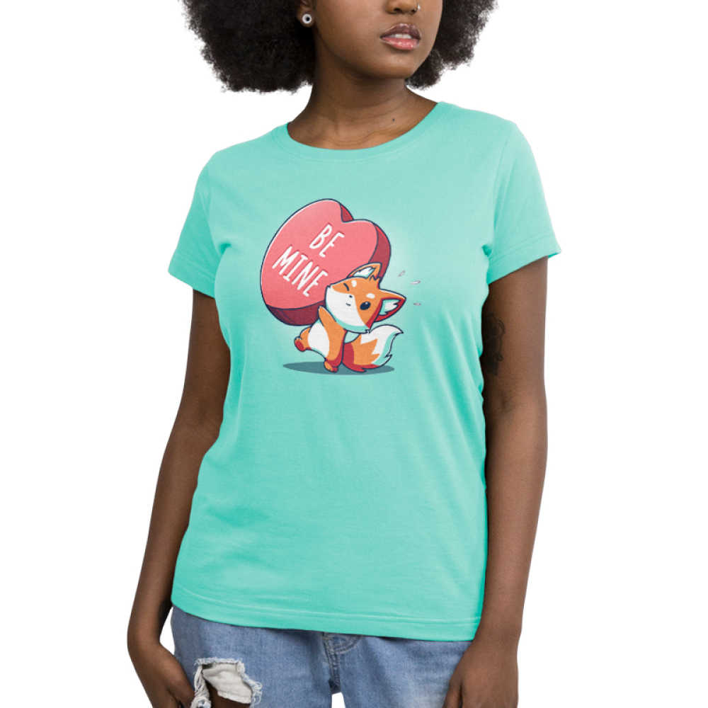 Be Mine Women's t-shirt model TeeTurtle chill blue t-shirt featuring a fox holding a huge heart that says Be Mine