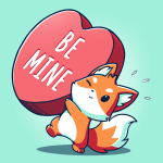 Be Mine t-shirt TeeTurtle chill blue t-shirt featuring a fox holding a huge heart that says Be Mine