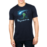 When You Wish Upon a Star Men's t-shirt model TeeTurtle navy t-shirt featuring a little green t-rex on a grassy hilltop looking happily up at a shooting star against a starry sky.