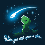 When You Wish Upon a Starnavy t-shirt featuring a little green t-rex on a grassy hilltop looking happily up at a shooting star against a starry sky.