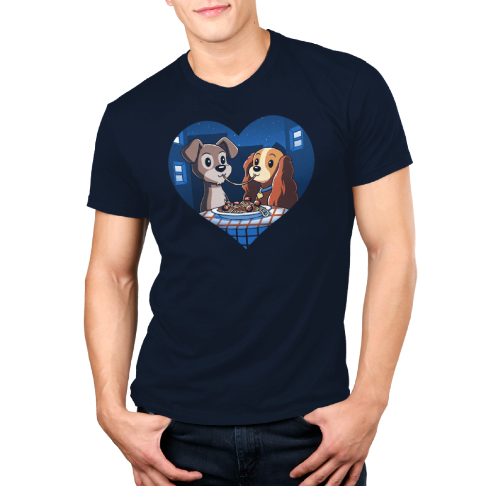 Lady and The Tramp Men's t-shirt model officially licensed Disney navy t-shirt featuring Lady and The Tramp eating spaghetti with the same noodle in their mouths
