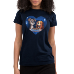 Lady and The Tramp Junior's t-shirt model officially licensed Disney navy t-shirt featuring Lady and The Tramp eating spaghetti with the same noodle in their mouths