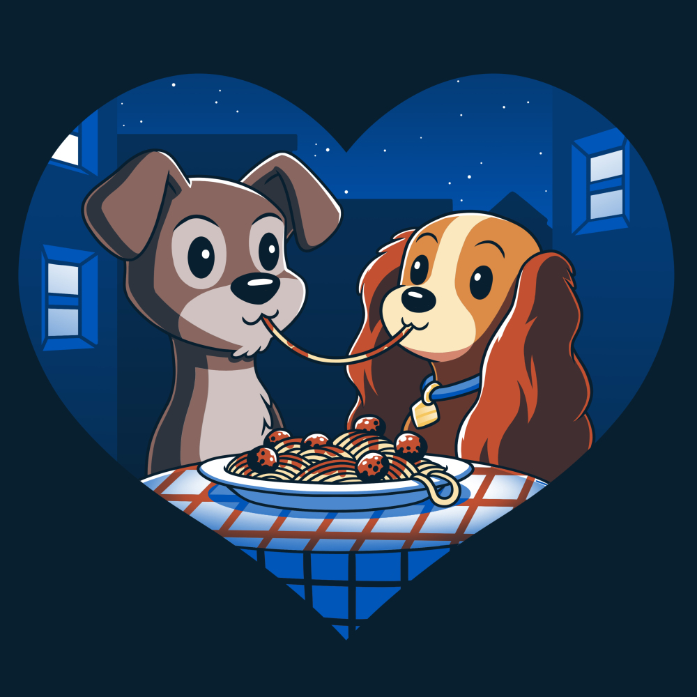 Lady and The Tramp t-shirt officially licensed Disney navy t-shirt featuring Lady and The Tramp eating spaghetti with the same noodle in their mouths