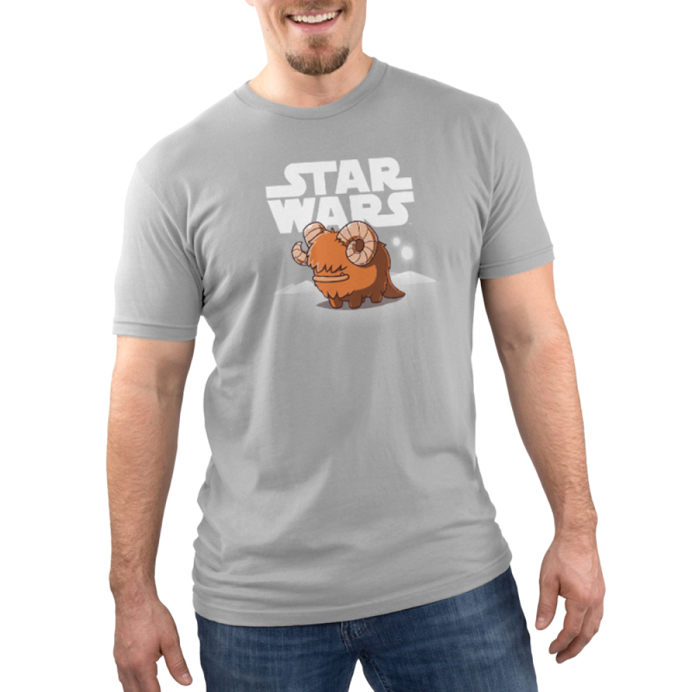Bantha Men's t-shirt model officially licensed silver Star Wars t-shirt featuring a happy bantha standing in front of a white Star Wars logo with white sand dunes and two white moons in the background.