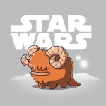 Bantha t-shirt officially licensed silver Star Wars t-shirt featuring a happy bantha standing in front of a white Star Wars logo with white sand dunes and two white moons in the background.