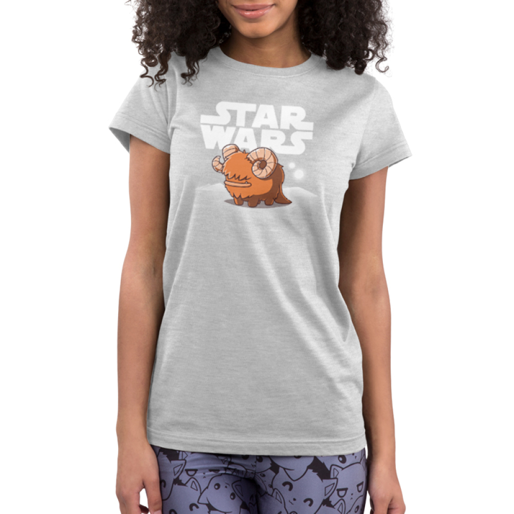 Bantha Junior's t-shirt model officially licensed silver Star Wars t-shirt featuring a happy bantha standing in front of a white Star Wars logo with white sand dunes and two white moons in the background.
