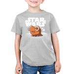 Bantha Kid's t-shirt model officially licensed silver Star Wars t-shirt featuring a happy bantha standing in front of a white Star Wars logo with white sand dunes and two white moons in the background.