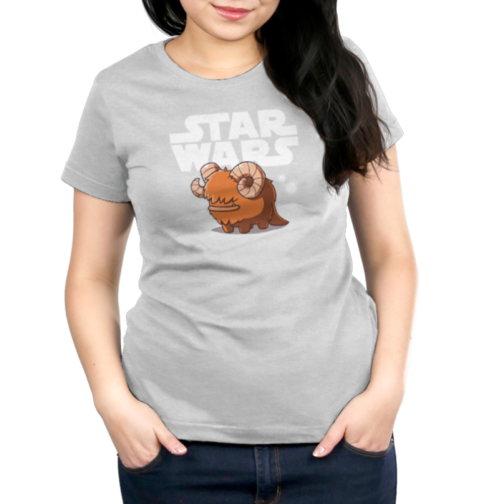 Bantha Women's t-shirt model officially licensed silver Star Wars t-shirt featuring a happy bantha standing in front of a white Star Wars logo with white sand dunes and two white moons in the background.