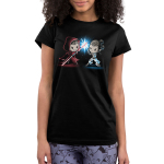 Lightsaber Duel (Rey) Junior's t-shirt model officially licensed black Star Wars t-shirt featuringRey from Star Wars with a grinning Sith-Rey wearing a dark red hooded cloak wielding a red Lightsaber staff battling against a determined Jedi-Rey wearing her white Jedi outfit wielding a blue Lightsaber with a blue spark where their weaponsmeet.