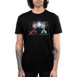 Lightsaber Duel (Rey) Men's t-shirt model officially licensed black Star Wars t-shirt featuringRey from Star Wars with a grinning Sith-Rey wearing a dark red hooded cloak wielding a red Lightsaber staff battling against a determined Jedi-Rey wearing her white Jedi outfit wielding a blue Lightsaber with a blue spark where their weaponsmeet.