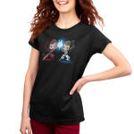 Lightsaber Duel (Rey) Women's t-shirt model officially licensed black Star Wars t-shirt featuringRey from Star Wars with a grinning Sith-Rey wearing a dark red hooded cloak wielding a red Lightsaber staff battling against a determined Jedi-Rey wearing her white Jedi outfit wielding a blue Lightsaber with a blue spark where their weaponsmeet.