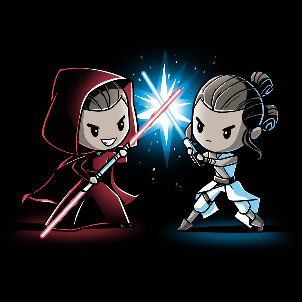 Lightsaber Duel (Rey) t-shirt officially licensed black Star Wars t-shirt featuring Rey from Star Wars with a grinning Sith-Rey wearing a dark red hooded cloak wielding a red Lightsaber staff battling against a determined Jedi-Rey wearing her white Jedi outfit wielding a blue Lightsaber with a blue spark where their weaponsmeet.