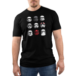 Stormtroopers Men's t-shirt model officially licensed black Star Wars t-shirt featuring a 3 by 3 grid of all different stormtrooper helmets