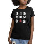 Stormtroopers Women's t-shirt model officially licensed black Star Wars t-shirt featuring a 3 by 3 grid of all different stormtrooper helmets