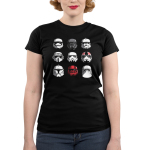 Stormtroopers Junior's t-shirt model officially licensed black Star Wars t-shirt featuring a 3 by 3 grid of all different stormtrooper helmets
