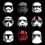 Stormtroopers t-shirt officially licensed black Star Wars t-shirt featuring a 3 by 3 grid of all different stormtrooper helmets