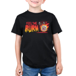 Feel the Burn Kid's t-shirt model TeeTurtle black t-shirt featuring a crazy looking marshmallow on fire lifting a weight with one arm