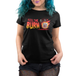 Feel the Burn Women's t-shirt model TeeTurtle black t-shirt featuring a crazy looking marshmallow on fire lifting a weight with one arm