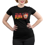 Feel the Burn Junior's t-shirt model TeeTurtle black t-shirt featuring a crazy looking marshmallow on fire lifting a weight with one arm