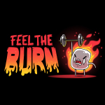 Feel the Burn t-shirt TeeTurtle black t-shirt featuring a crazy looking marshmallow on fire lifting a weight with one arm