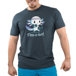 Flex-o-lotl Men's t-shirt model TeeTurtle denim blue t-shirt featuring a white axolotl with a purple sweat band on its head lifting hand weights in each hand