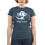 Flex-o-lotl Junior's t-shirt model TeeTurtle denim blue t-shirt featuring a white axolotl with a purple sweat band on its head lifting hand weights in each hand