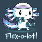 Flex-o-lotl t-shirt TeeTurtle denim blue t-shirt featuring a white axolotl with a purple sweat band on its head lifting hand weights in each hand