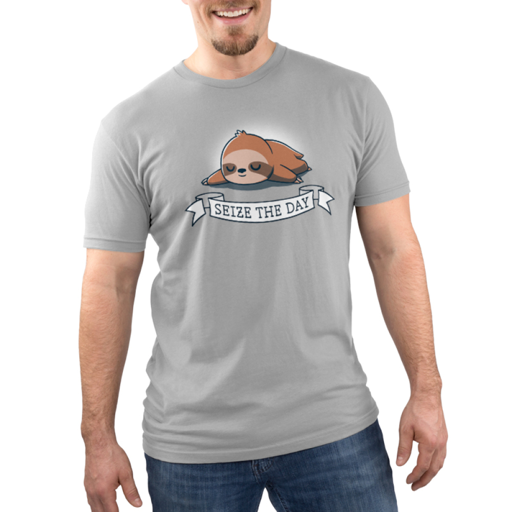 Seize the Day! Men's t-shirt model TeeTurtle silver t-shirt featuring a brown sloth lying down and sleeping soundly with a white banner saying,