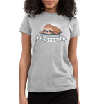 Seize the Day! Junior's t-shirt model TeeTurtle silver t-shirt featuring a brown sloth lying down and sleeping soundly with a white banner saying,