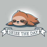 Seize the Day! silver t-shirt featuring a brown sloth lying down and sleeping soundly with a white banner saying,