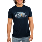Furry Fellowship Men's t-shirt model TeeTurtle navy t-shirt featuring a bunny bard, panda wizard, fox ranger, and cat barbarian standing in the middle of a shaded forest with snowy mountains in the background.