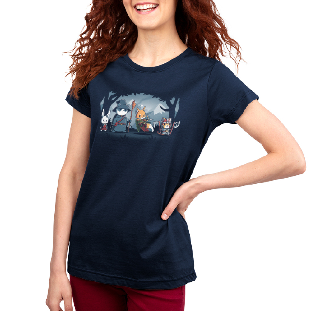Furry Fellowship Women's t-shirt model TeeTurtle navy t-shirt featuring a bunny bard, panda wizard, fox ranger, and cat barbarian standing in the middle of a shaded forest with snowy mountains in the background.
