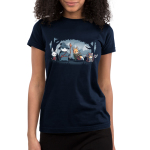 Furry Fellowship Junior's t-shirt model TeeTurtle navy t-shirt featuring a bunny bard, panda wizard, fox ranger, and cat barbarian standing in the middle of a shaded forest with snowy mountains in the background.