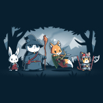 Furry Fellowship navy t-shirt featuring a bunny bard, panda wizard, fox ranger, and cat barbarian standing in the middle of a shaded forest with snowy mountains in the background.