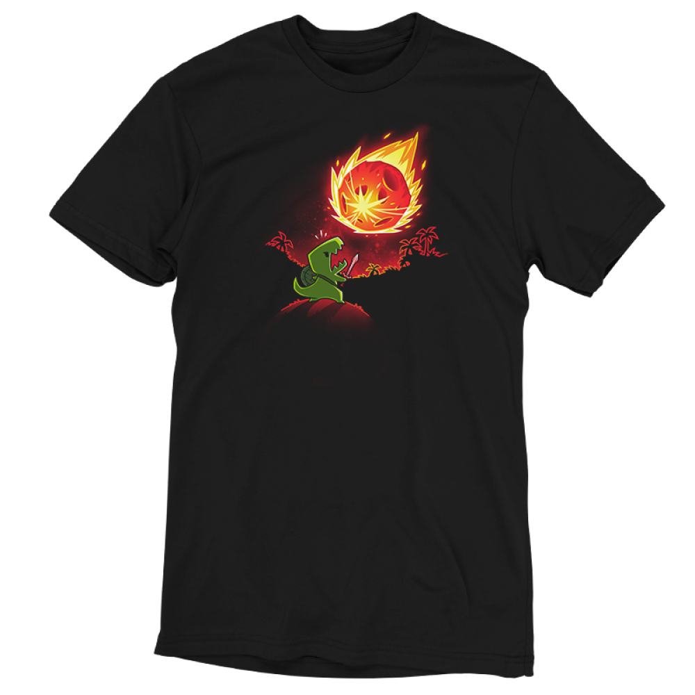 Meteor Destroyer black t-shirt featuring a tiny green tyrannosaurus rex wearing a shield and sword on top of a hill roaring at a gigantic incoming meteor that's bathing the surrounding jungle in red light.