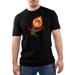 Meteor Destroyer Men's t-shirt model TeeTurtle black t-shirt featuring a tiny green tyrannosaurus rex wearing a shield and sword on top of a hill roaring at a gigantic incoming meteor that's bathing the surrounding jungle in red light.