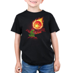 Meteor Destroyer Kid's t-shirt model TeeTurtle black t-shirt featuring a tiny green tyrannosaurus rex wearing a shield and sword on top of a hill roaring at a gigantic incoming meteor that's bathing the surrounding jungle in red light.