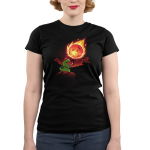 Meteor Destroyer Junior's t-shirt model TeeTurtle black t-shirt featuring a tiny green tyrannosaurus rex wearing a shield and sword on top of a hill roaring at a gigantic incoming meteor that's bathing the surrounding jungle in red light.