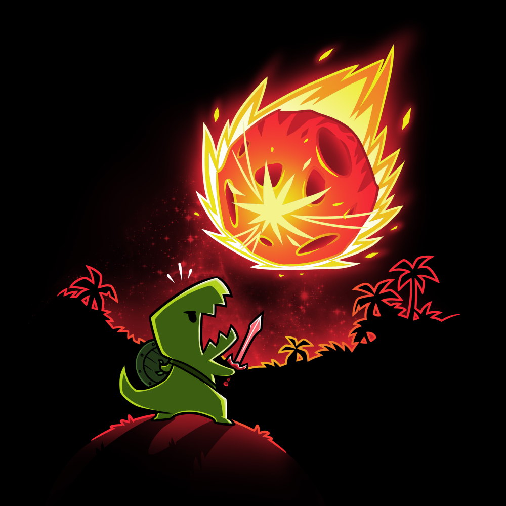 Meteor Destroyer black t-shirt featuring a tiny green tyrannosaurusrex wearing a shield and sword on top of a hill roaring at a gigantic incoming meteor that's bathing the surrounding jungle in red light.