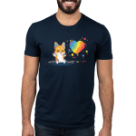 Paw Painting (Corgi) Men's t-shirt model TeeTurtle navy t-shirt featuring a corgi sitting up covered in multiple paint colors beside a rainbow heart with colorful pawprints and splatters all around.