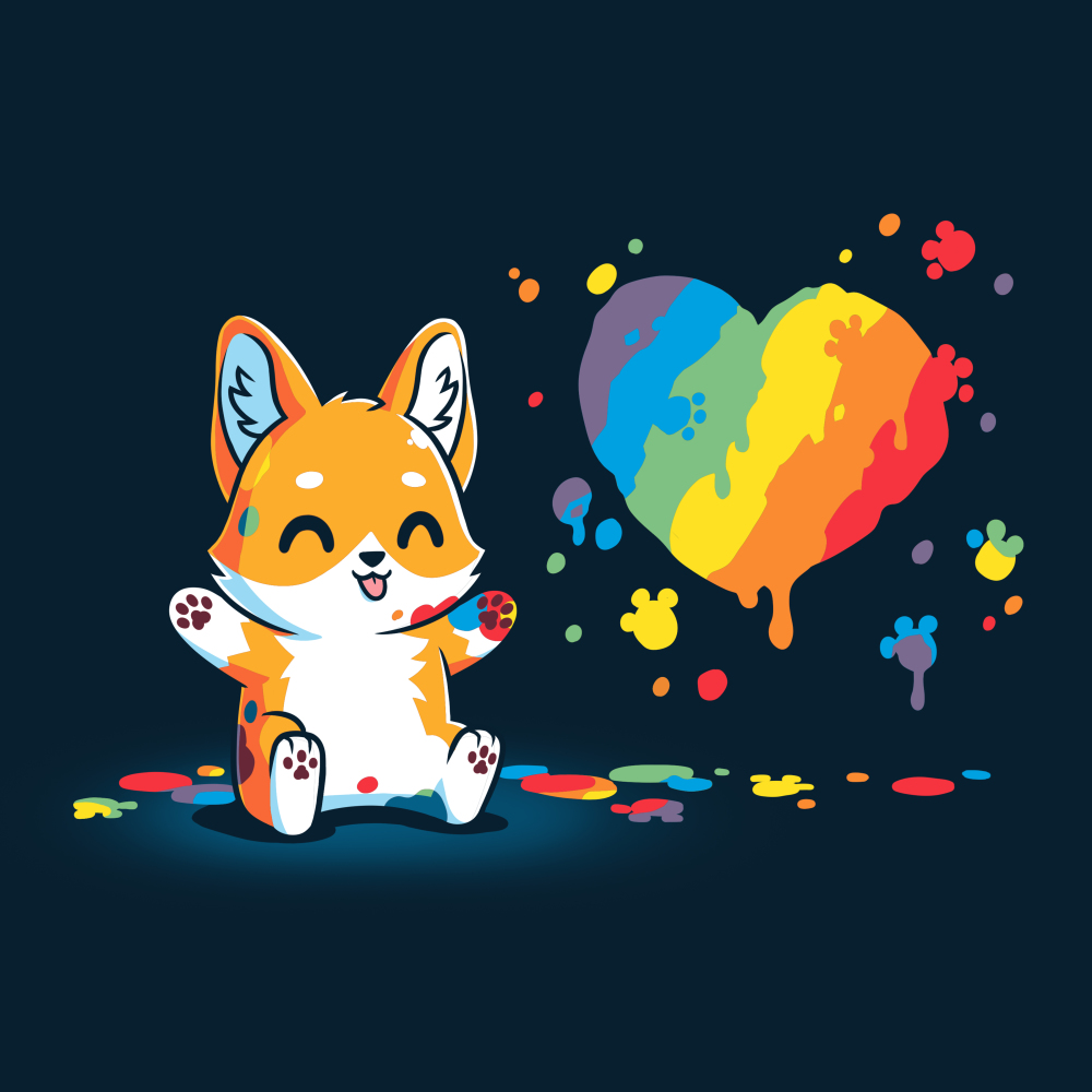 Paw Painting (Corgi) navy t-shirt featuring a corgi sitting up covered in multiple paint colors beside a rainbow heart with colorful pawprints and splatters all around.