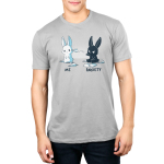 Me vs. Anxiety Men's t-shirt model TeeTurtle silver t-shirt featuring a mischievous black bunny sitting down throwing a paper airplane at an annoyed white bunny with paper airplanes and paper scattered on the ground.