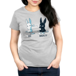 Me vs. Anxiety Women's t-shirt model TeeTurtle silver t-shirt featuring a mischievous black bunny sitting down throwing a paper airplane at an annoyed white bunny with paper airplanes and paper scattered on the ground.