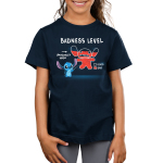 Stitch's Badness Level Kid's t-shirt model officially licensed navy Disney t-shirt featuring Stitch pointing to a drawing of himself with red colored in almost all the way up to his head