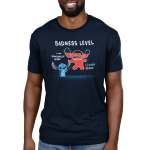 Stitch's Badness Level Men's t-shirt model officially licensed navy Disney t-shirt featuring Stitch pointing to a drawing of himself with red colored in almost all the way up to his head