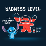 Stitch's Badness Level t-shirt officially licensed navy Disney t-shirt featuring Stitch pointing to a drawing of himself with red colored in almost all the way up to his head