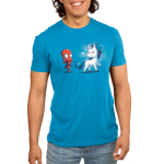 Deadpool's Magical Friend Men's t-shirt model officially licensed cobalt blue Marvel t-shirt featuring Deadpool looking in awe with stars over his eyes looking at a white and blue unicorn with sparkles around it