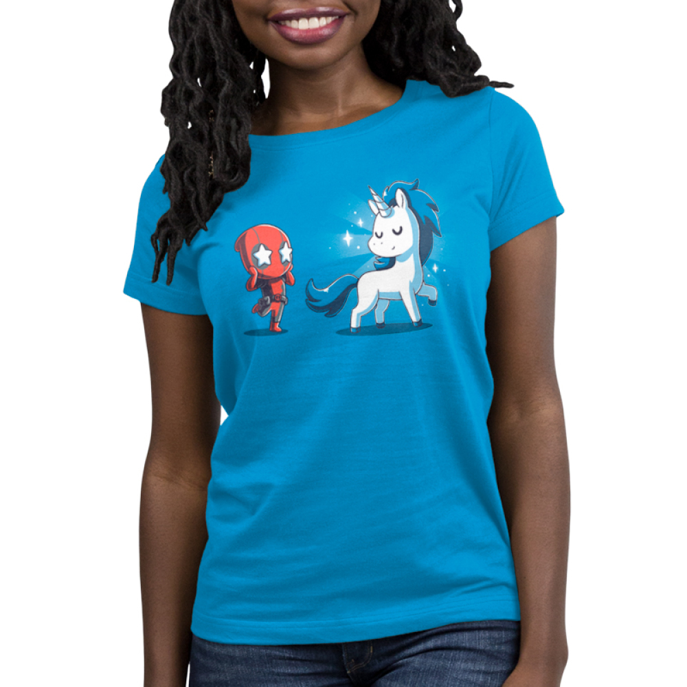 Deadpool's Magical Friend Women's t-shirt model officially licensed cobalt blue Marvel t-shirt featuring Deadpool looking in awe with stars over his eyes looking at a white and blue unicorn with sparkles around it